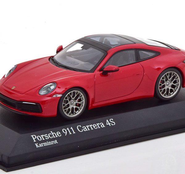 Porsche 911 (992) Carrera 4S Coupe 2019 Rood 1-43 Minichamps Limited 384 Pieces