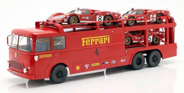 """Fiat Bartoletti 306/2 Renntransporter """"Ferrari Film Le Mans""""1970 Rood 1-18 Norev Limited 1000 Pieces ( zonder Auto's )"""