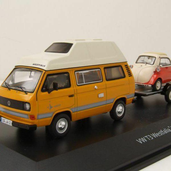 Volkswagen T3 Westfalia Joker Bus + aanhanger BMW Isetta, 1:43 / Schuco Limited 750 Pieces