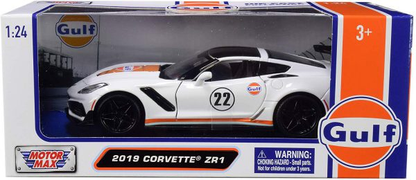 """Chevrolet Corvette ZR1 2019 #22 """"Gulf Oil"""" White with Orange Stripes and Black Top 1/24 Diecast Model Car by Motormax"""