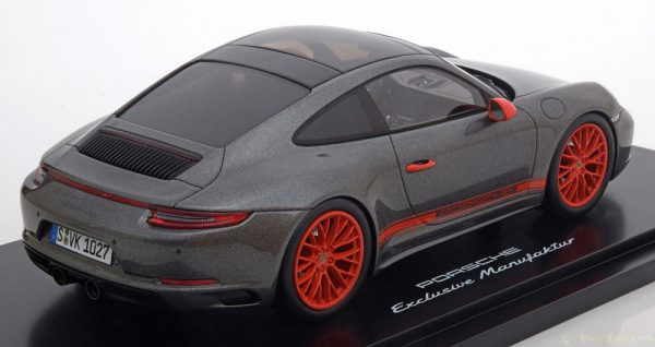 Porsche 911 (991) Carrera 4S Coupe 2015 Antraciet / Oranje 1-18 Inkl. Vitrine Spark Limited 500 Pieces