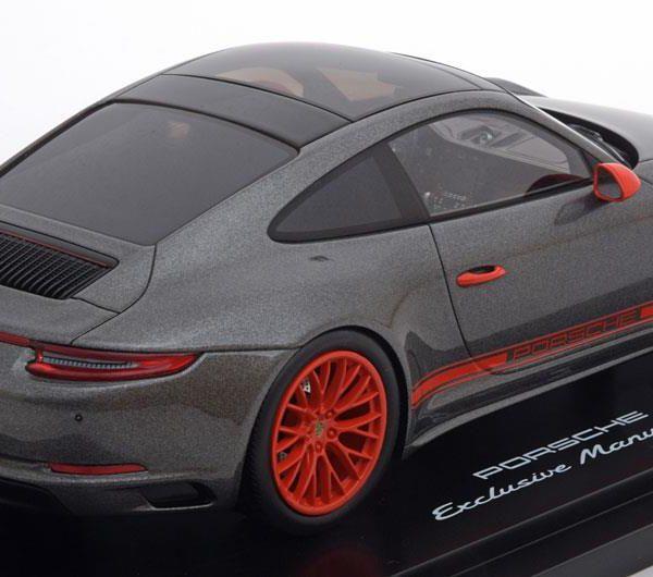 Porsche 911 (991) Carrera 4S Coupe 2015 Antraciet / Oranje 1-18 Inkl. Vitrine Spark Limited 500 Pieces
