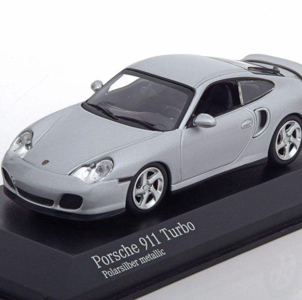 Porsche 911 (996) Turbo Coupe 1999 Zilver Metallic 1-43 Minichamps Limited 500 Pieces