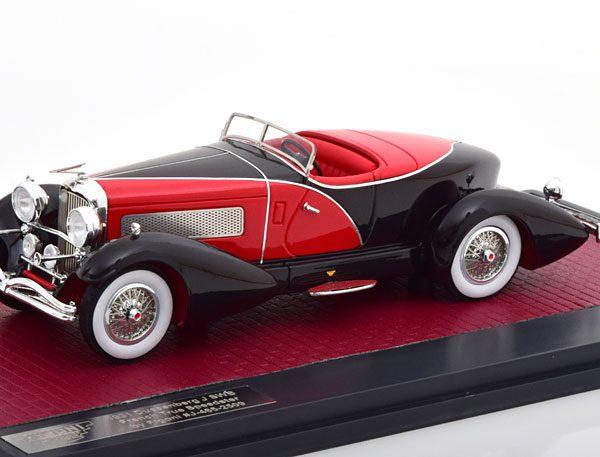 Duesenberg J SWB French True Speedster by Figoni #J-465-2509 1931 Zwart/Rood 1-3 Matrix Scale Models Limited 408 pcs.
