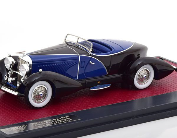 Duesenberg J SWB French True Speedster by Figoni #J-153-2178 1931 Blauw/Zwart 1-43 Matrix Scale Models Limited 408 pcs.