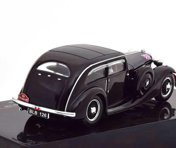 Jaguar SS1 Airline Coupe Rally Monte Carlo 1935 H. Light Zwart 1-43 Ixo Models