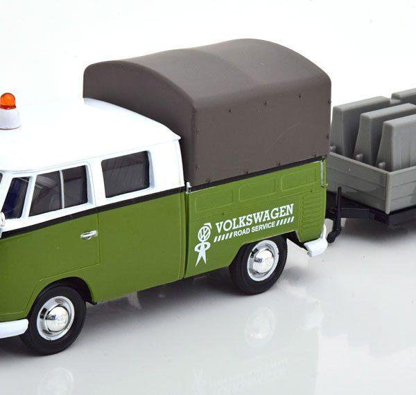 Volkswagen T1 Pritsche Road Service met aanhanger Groen / Wit 1-24 Motormax