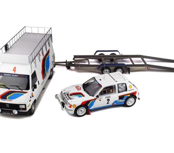 Peugeot Rally Set Rally Monte-Carlo 1985 - Peugeot 205 & Peugeot J5 en Trailer A. Vatanen / T. Harryman 1-18 Ottomobile Limited 3000 Pieces