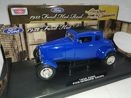Ford 1932 Hot Rod Five Window Coupe Blauw 1-18 Motormax