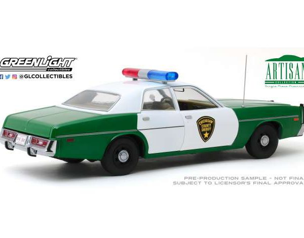 """Plymouth Fury """"Chicksaw County Sheriff """"1975 Groen / Wit 1:18 Greenlight Collectibles"""