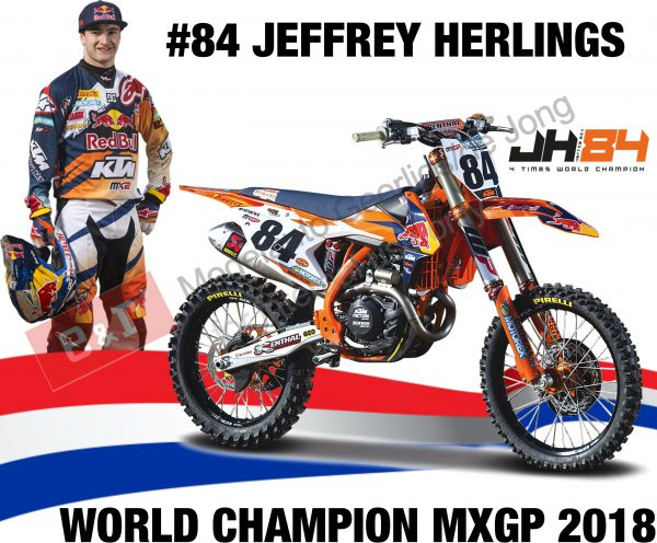 KTM 450 SX-F #84 Jeffrey Herlings (Dutch Rider) Red Bull KTM Supercross World Champion 2018 1-18 Burago