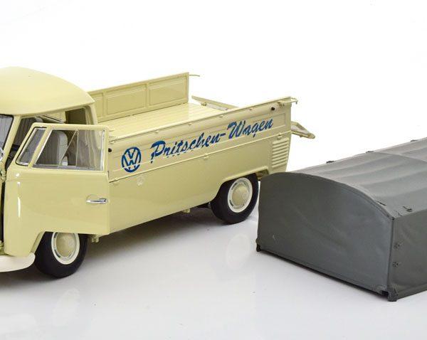 Volkswagen T1b Plane Pritschen Wagen 1959 Beige/Grijs 1-18 Schuco