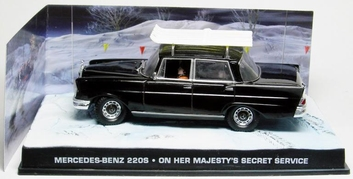 "Mercedes-Benz 220S Zwart ""On her Majesty's Secret Service "" 1-43 Altaya James Bond 007 Collection"