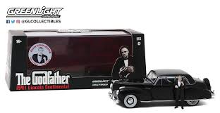 "Lincoln Continental 1941 Zwart met Figuur Don Corleone ""The Godfather"" 1-43 Greenlight Collectibles"