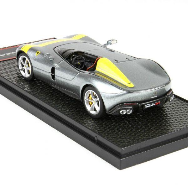 Ferrari Monza SP1 Paris Auto Show 2018 Silver/Yellow Stripes 1/43 BBR-Models Limited 330 Pieces