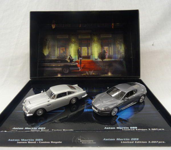 "James Bond 007 Set Aston Martin DB5 and DB S ""Casino Royale"" 1-43 Minichamps Limited 3007 pcs."