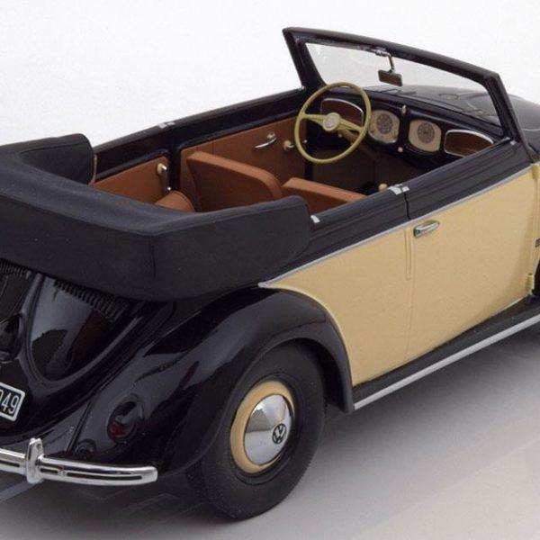 Volkswagen Kever Cabriolet 1949 Zwart / Creme 1-18 Minichamps