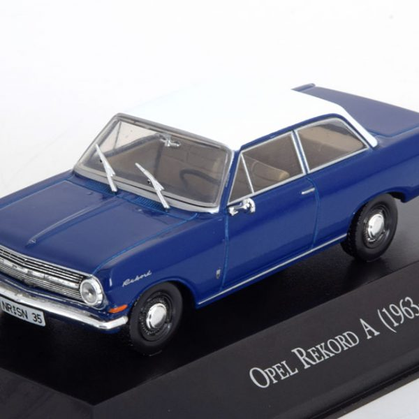 Opel Rekord A Coupe 1963 Blauw / Wit 1-43 Altaya