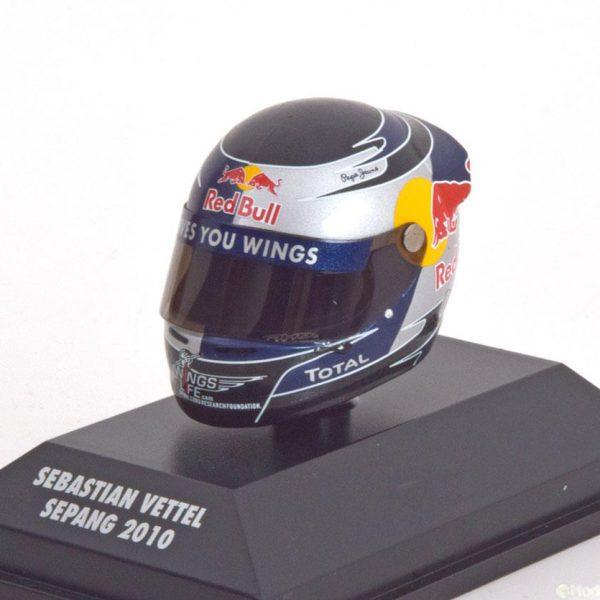Helm Sebastian Vettel Red Bull Racing Arai Helm GP Sepang 2010 World Champion 1-8 Minichamps