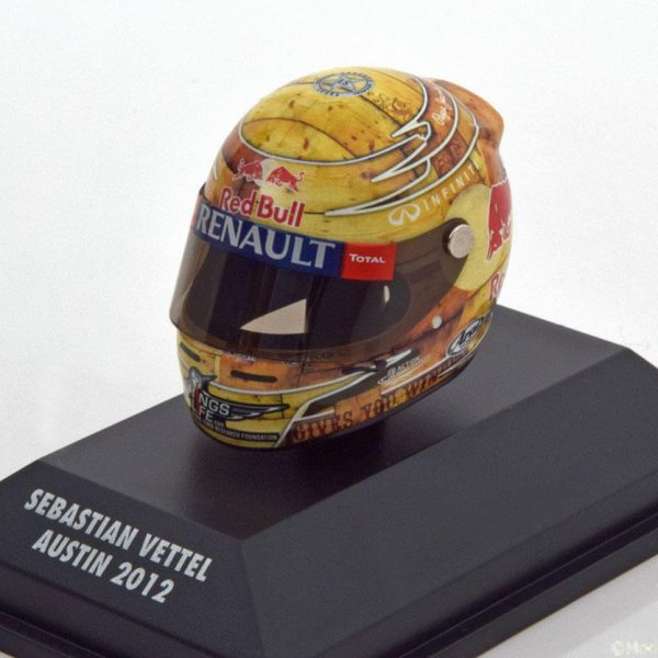 Helm Sebastian Vettel Arai Helm Red Bull Racing GP USA 2012, World Champion 1-8 Minichamps