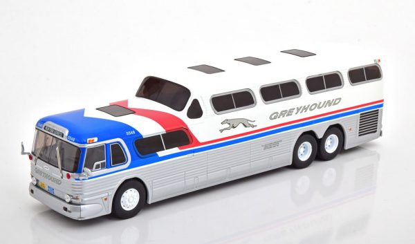 GMC Scenicruiser Greyhound 1956 Zilver / Blauw / Rood / Wit 1-43 Ixo Models