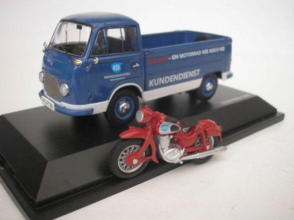 Ford Transit FK 1000 + NSU Max Motor Blauw 1-43 Schuco - 1:43 -Limited 1000 Pieces