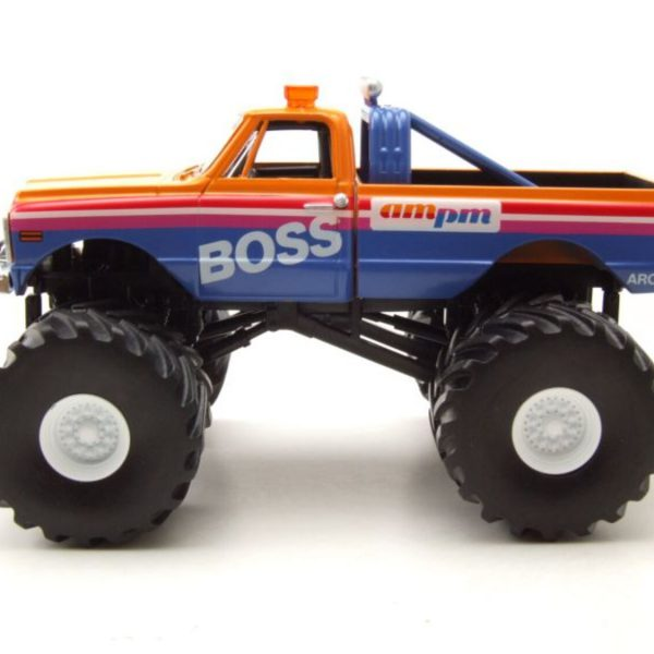 Chevrolet K-10 AM/PM Boss Monstertruck 1972 Oranje / Blauw 1-43 Greenlight Collectibles