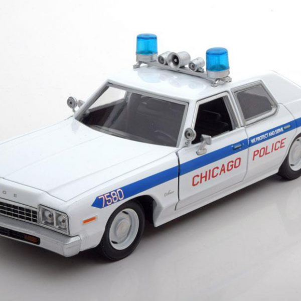 """Dodge Monaco 1975 Chicago Police Car """"Blues Brothers"""" Wit 1-24 Greenlight Collectibles"""