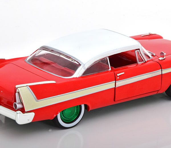 """Plymouth Fury 1958 """"Christine"""" Rood / Wit ( groene velgen) 1-24 Greenlight Collectibles"""
