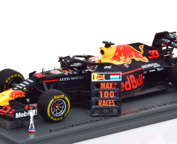 Aston Martin Red Bull Racing RB15 3e Place GP USA 2019 100th GP with Pit Board Max Verstappen 1-43 Spark ( Resin )