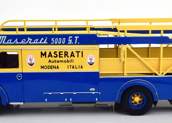 Fiat 642 RN2 Bartoletti Maserati Renntransporter 1957 Blauw / Geel 1-18 CMR Models