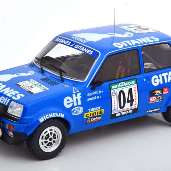 Renault 5 Alpine No.04, Rally Bandama 1978 Ragnotti/Andrie Blauw 1-18 Ixo Models