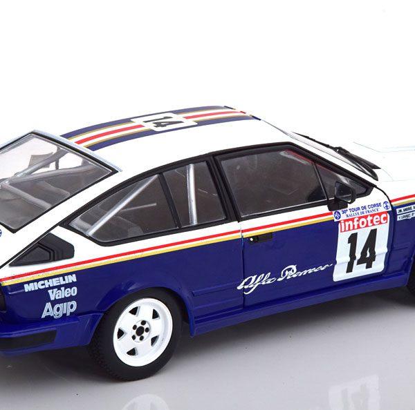 """Alfa Romeo GTV 6 No.14, Rallye Tour de Corse 1986 """"Rothmans"""" Loubet/Andrie 1-18 Solido"""