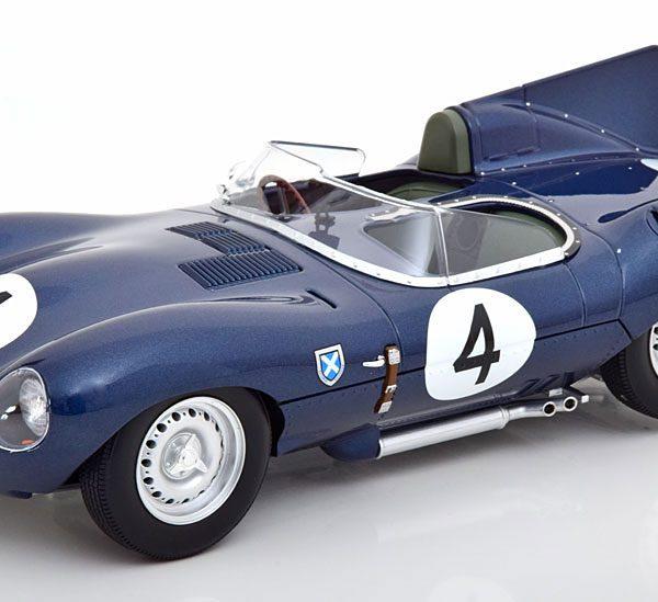 Jaguar D-Type Short Nose Winner 24h Le Mans 1956 Blauw Sanderson/Flockhart 1-18 CMR Models