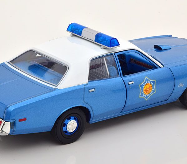 "Plymouth Fury 1977 Arkansas State Police ""Smokey and the Bandit"" Blauw / Wit 1-24 Greenlight Collectibles"