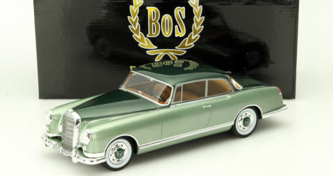 Mercedes-Benz 300B 1955 Pininfarina, Metallic-Groen/Metallic-Donkergroen, 1-18 BOS Models Limited 1000 Pieces