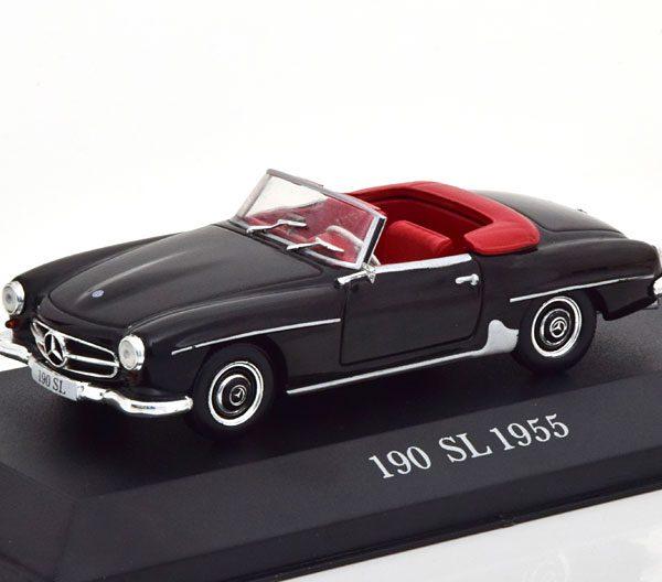 Mercedes-Benz 190 SL ( W121 ) Roadster 1955-1963 Zwart 1-43 Atlas