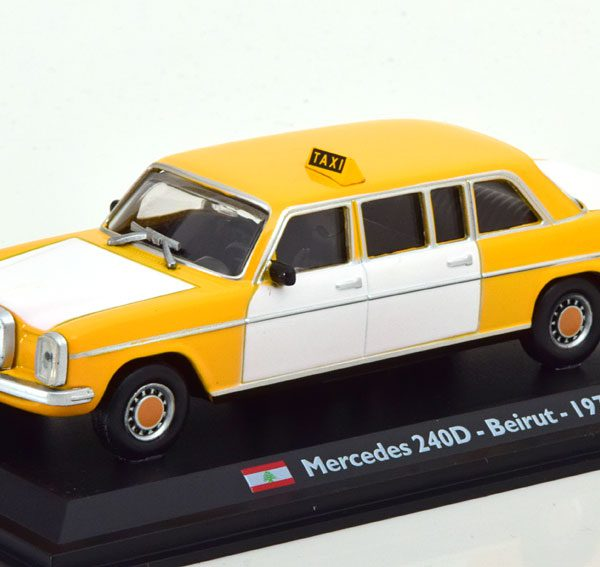 "Mercedes-Benz 240D /8 Limousine ""Taxi Beiroet"" Geel / Wit 1-43 Altaya Taxi Collection"