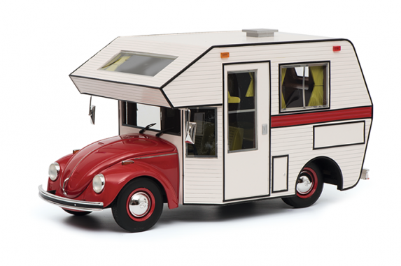 Volkswagen Kever Motorhome Rood / Creme 1-18 Schuco Pro R Limited 500 Pieces