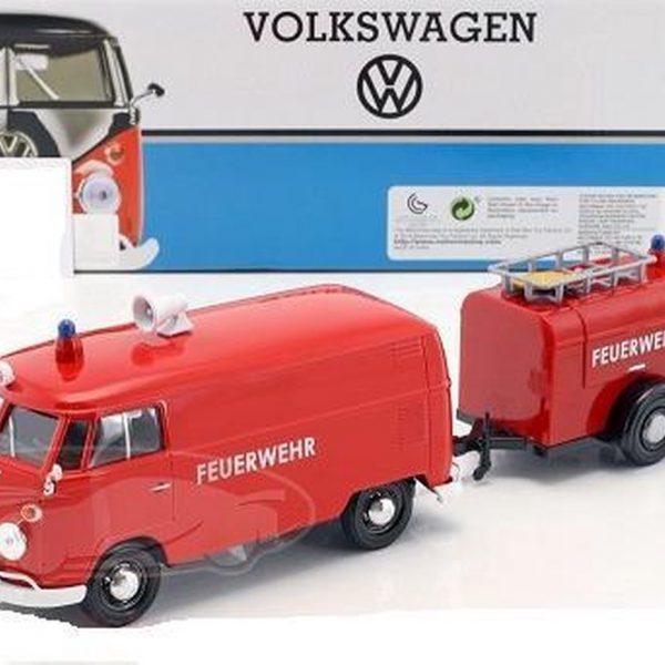 Volkswagen Bus T1 Van met aanhanger Brandweer Rood 1:24 Motormax