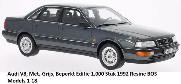 Audi V8 limousine 1992 Grijs Metallic 1-18 BOS Models Limited 1000 Pieces