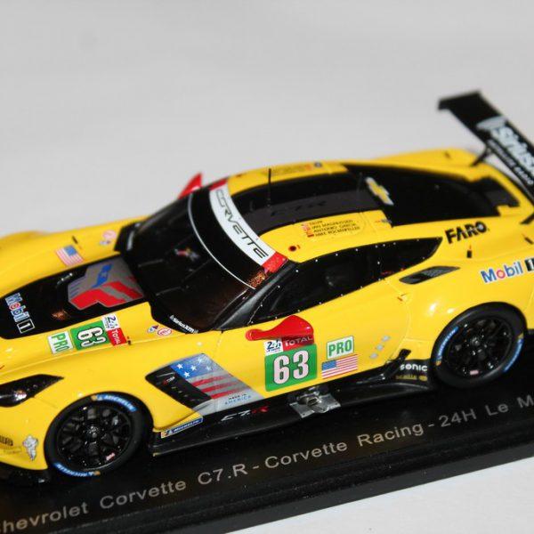 Chevrolet Corvette C7 R Corvette Racing Nr# 63 24 Hrs Le Mans 2018 J.Magnussen / A.Garcia / M.Rockenfeller Geel 1-43 Spark