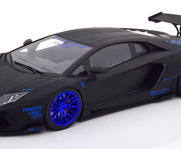 "Lamborghini Aventador ""LB Works"" 2017 Matzwart / Blauw 1-12 GT Spirit ( Made by Kyosho Japan ) Limited 199 Pieces"