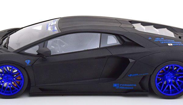 "Lamborghini Aventador ""LB Works"" 2017 Matzwart / Blauw 1-12 GT Spirit ( Made by Kyosho Japan ) Limited 199 Pieces"