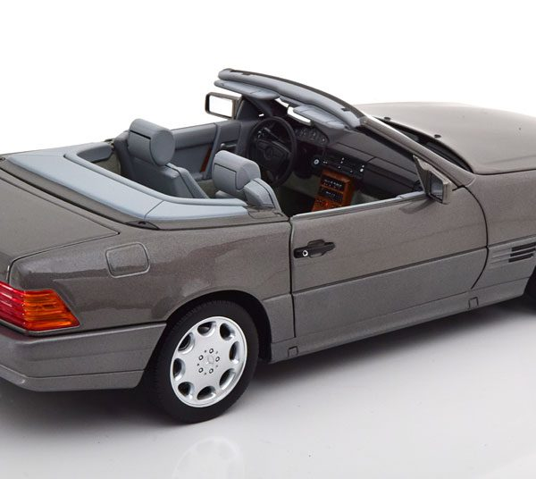 Mercedes-Benz 500 SL ( R129 ) Roadster 1989 Grijs Metallic 1-18 Norev