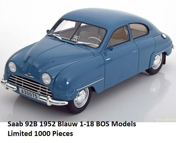 Saab 92B 1952 Blauw 1-18 BOS Models Limited 1000 Pieces