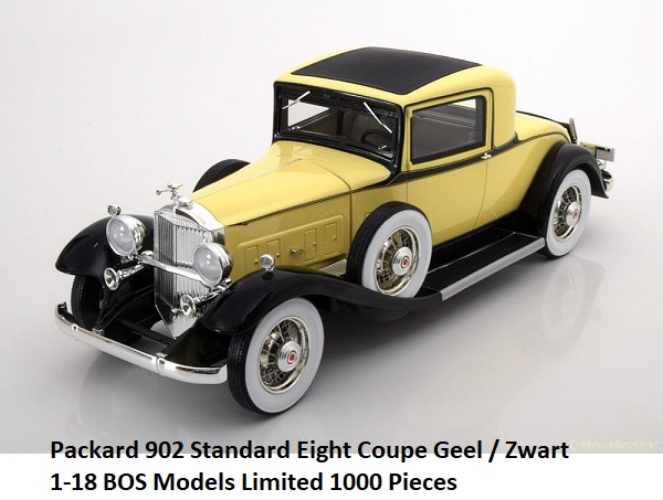 Packard 902 Standard Eight Coupe Geel / Zwart 1-18 BOS Models Limited 1000 Pieces
