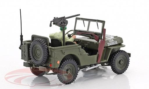 Jeep Willys 4x4 Militair met figuur 1:43 Cararama