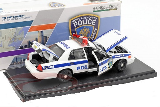 Ford Crown Victoria Police Interceptor 2003 Wit / Blauw 1:43 Greenlight Collectibles