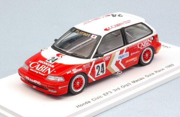 Honda Civic EF3 Grp.3 Nr# 24 Macau Guia Race 1989 Rood/ Wit Masami Miyoshi 1:43 Spark